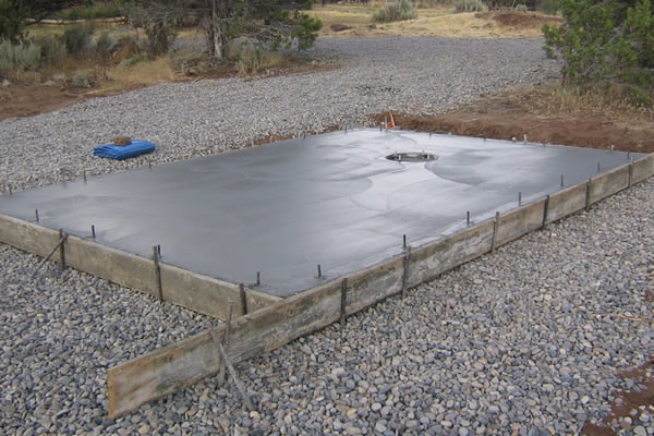 New concrete slab for garage addition